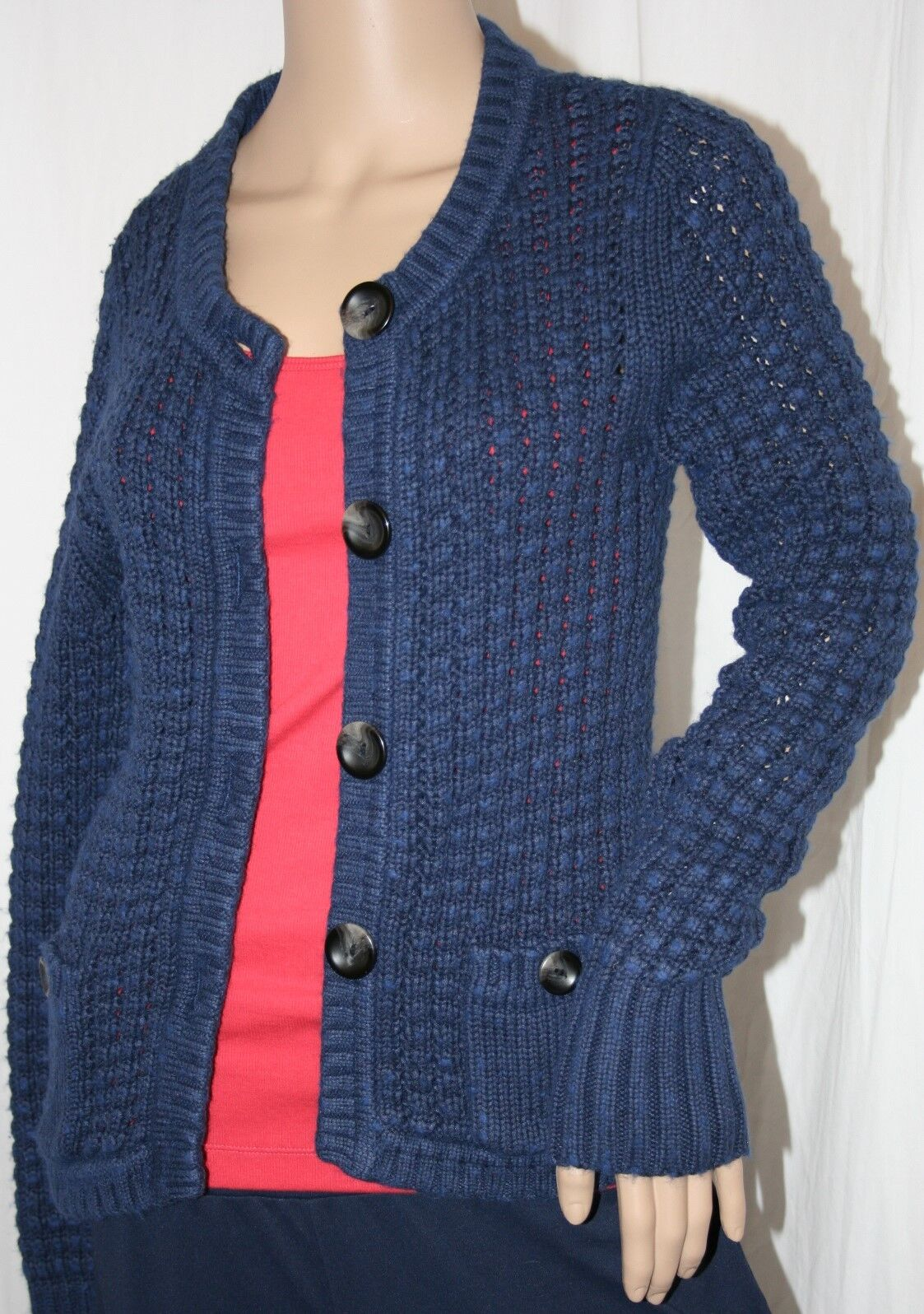 EDDIE BAUER LARGE CABLE KNIT BUTTON UP CARDIGAN NAVY SWEATER SWEATER SWEATER COTTON TOP M 4bb49d