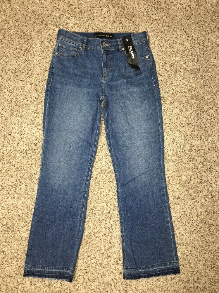 Express Jeans Bell Crop High Rise Womens Size 2 Inseam 26 Raw Hem NWT