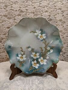 Antique-RS-Prussia-Hand-Painted-Raised-Gold-Floral-Plate