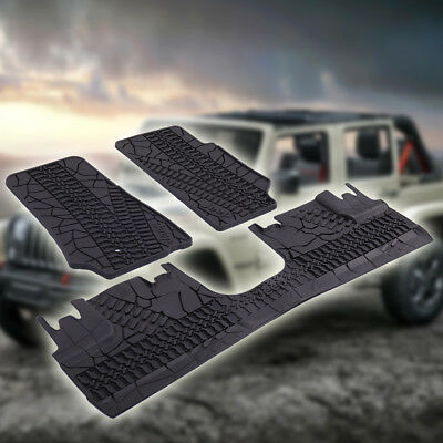 Fit For 07-17 Jeep Wrangler Unlimited 4 Door Rubber Slush Floor Mats All Weather