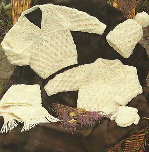 Baby Knitting Patterns Aran Sweater Mittens Hat Scarf Boys Girls 16-30