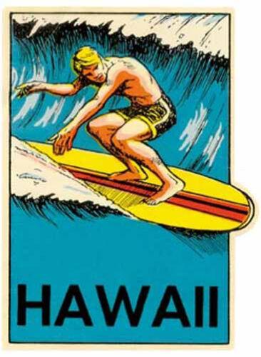 Hawaiian Surfer   Vintage Style  Surfing Travel Decal sticker Hawaii VW Bus