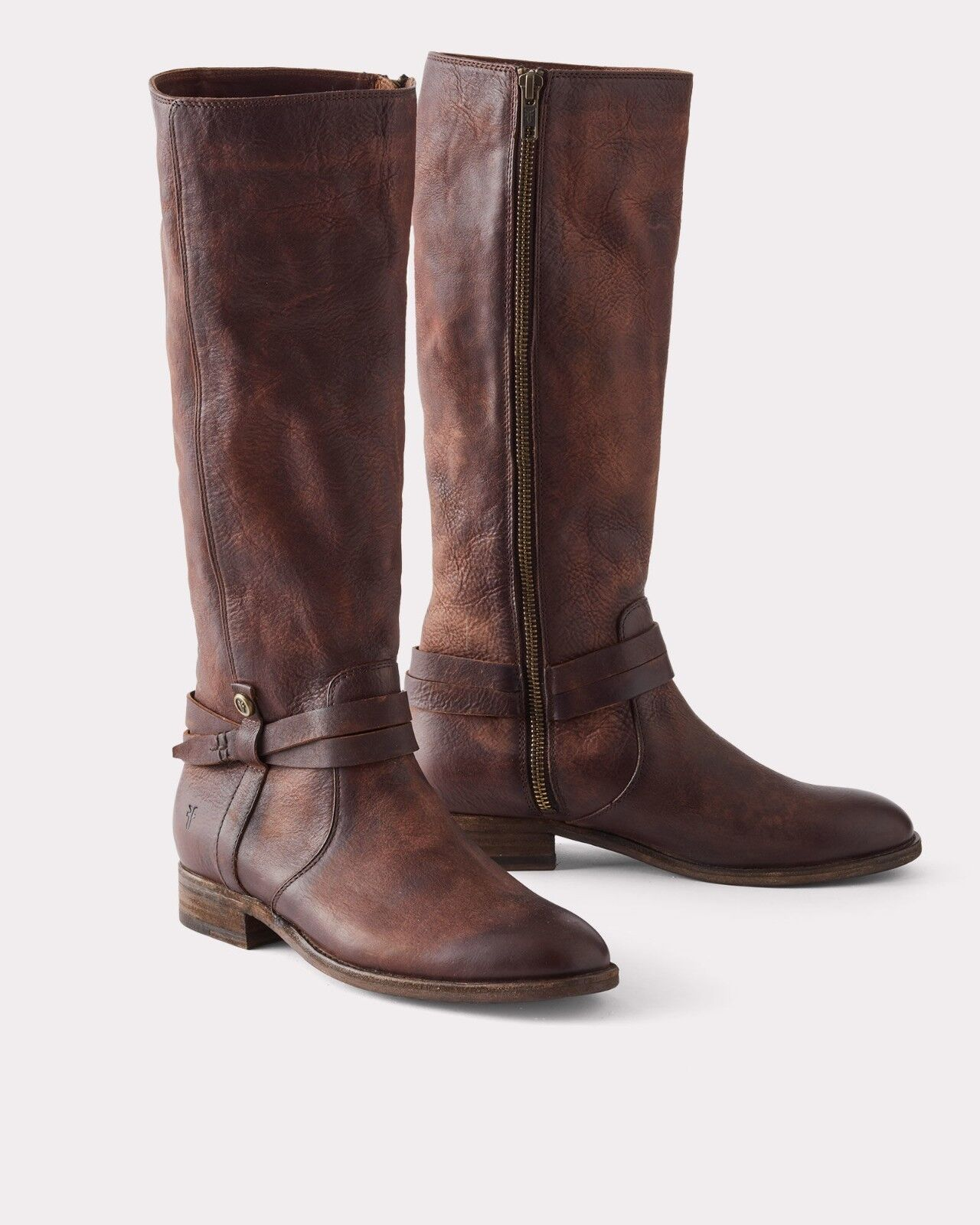 FRYE MELISSA BELTED TALL BOOTS REDWOOD 70500 EXTENDED CALF