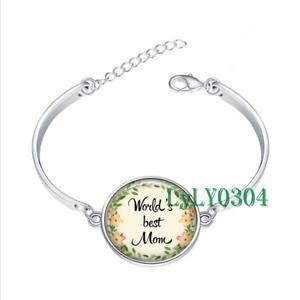 World/'s Best Maman Verre Cabochon Tibet Silver Bangle Bracelets Wholesale