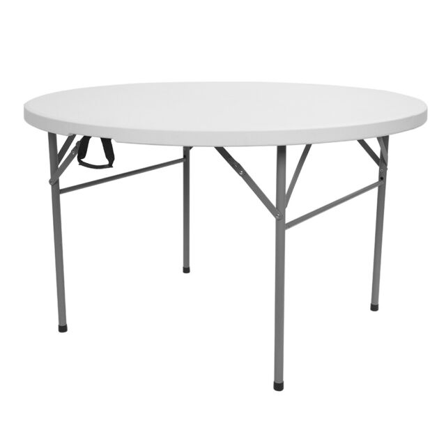 Outdoor Round Plastic Foldable Table 48 Inch White Folding Utility Diner  Table