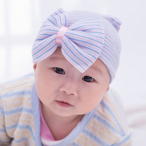 Baby Girl Infant Child Striped Hat With Bow Cap Newborn Beanie Soft FM