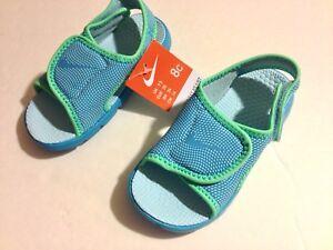 665054db6ecb NEW Nike Sunray Adjust Infant Girls Stick On Strap Green Blue ...