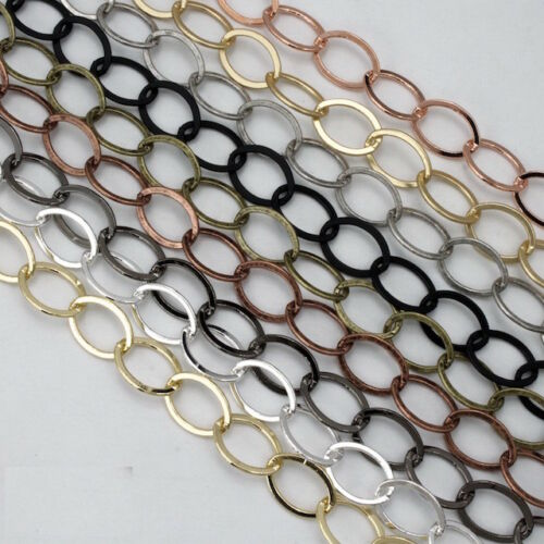12mm x 9mm Antique Copper Flat Oval Link Chain #CC249