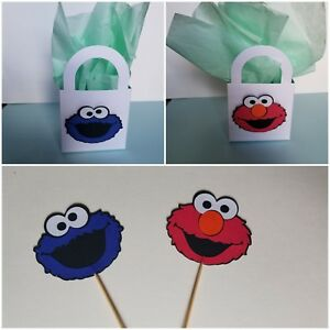 Details About 12 Cookie Monster Elmo Cupcake Toppers Treat Bag Birthday Party Supplies