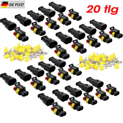 10x 2-polig Superseal KFZ Stecker Set Steckverbindung Auto Wasserdicht DE Stock