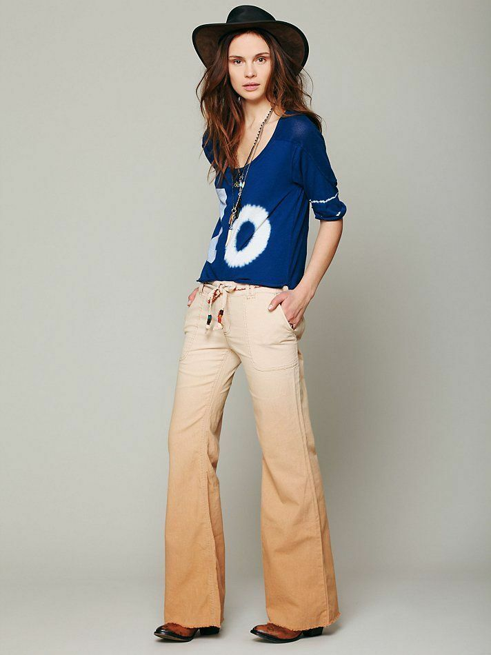 FREE PEOPLESize 0Ombre Khaki PantsLinenLow RiseWide Flare LegEmbroidered
