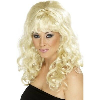 Women/'s Beehive Beauty Wig Blonde Curls 60/'s Hen Curly Long Pin Up Model Glamour