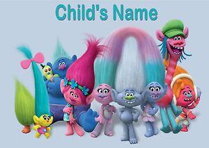 Childrens-Kids-A4-Trolls-Dinner-Mat-Place-Mat-Personalised