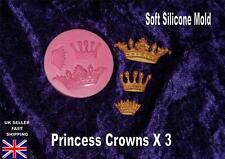 PRINCESS CROWN TIARA X3 silicone MOULD mold  fondant sugarpaste  CAKE topper