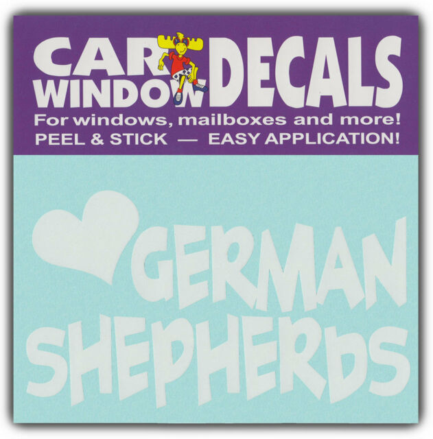 Car Window Decals: I Love German Shepherds | Dogs | Stickers Cars Trucks Glass