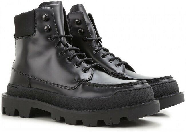 1120 Men's Prada Hi-Top Black Combat   Snow Boots shoes Prada Sz 9.5 US 10.5