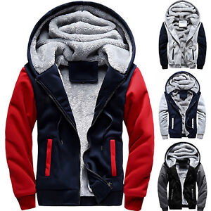 UK-Mens-Fashion-Fur-Fleece-Hooded-Coat-Winter-Warm-Hoodie-Jacket-Outwear-Zip-Up