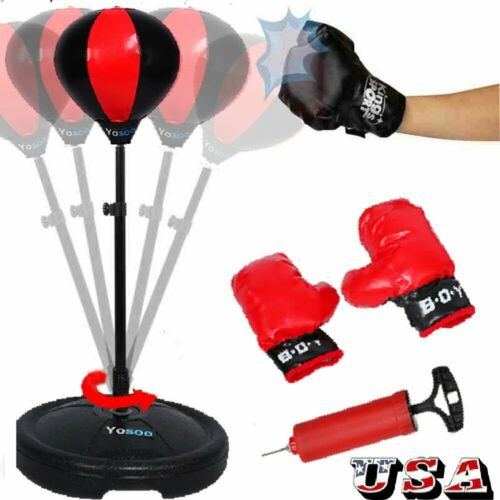 Adult Kids Punching Ball Bag Boxing Punch Exercise Sports Set With Gloves Gift