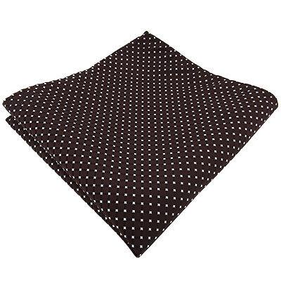 schönes Einstecktuch in braun dunkelbraun silber gepunktet - Tuch 100% Polyester