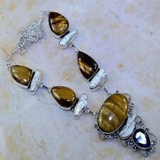 "Handmade Golden Tiger's Eye Gemstone 925 Sterling Silver Necklace 21.5"" #J91711"