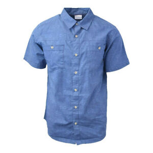 Columbia-Men-039-s-Blue-Kent-Falls-S-S-Woven-Shirt-Retail-45