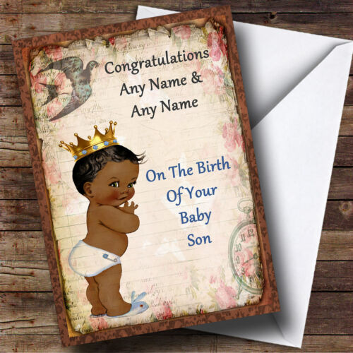 Vintage Black Baby Boy Personalised New Baby Greetings Card