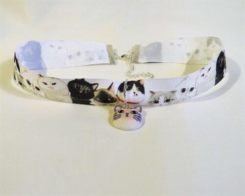 Gargantilla Collar Con Diseño de Gato con colgante gato de cerámica CG6086..