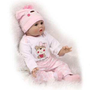 "21.65/"" Lifelike Baby Girl Reborn Doll Realistic Silicone Vinyl Birthday Gift"