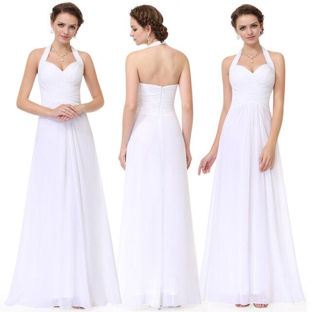Ever-Pretty Bridesmaid Dresses Long Chiffon Halter Ball Prom Gown White 08487