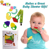 Baby Teething Chew Toy Set, 100% Safe Food Grade Silicone + 2 Free Bonuses