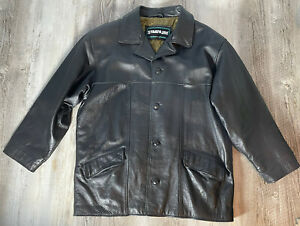 Stratojac Black Leather Coat Mid Length Men's Size XL NICE!