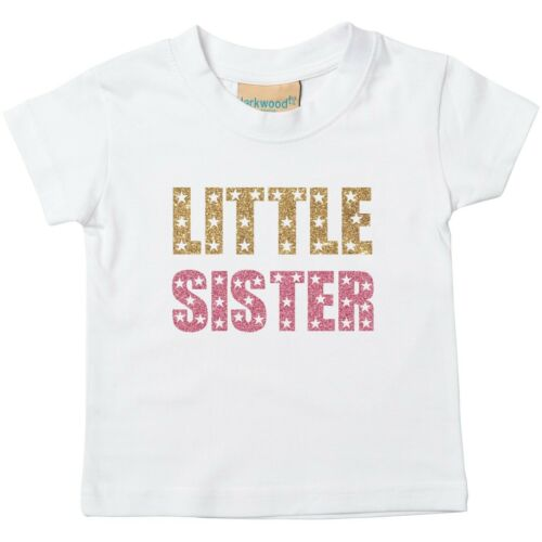Gold /& Brillo Rosa hermana pequeña del Niño T-Shirt-Impreso El embarazo revelan Top