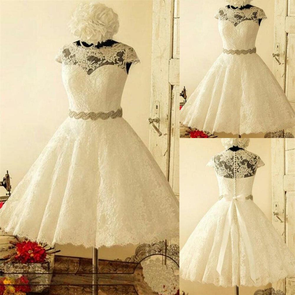 Short Plus Size Wedding Dresses Cap Sleeves Crystal Sash Appliqque Tea Length