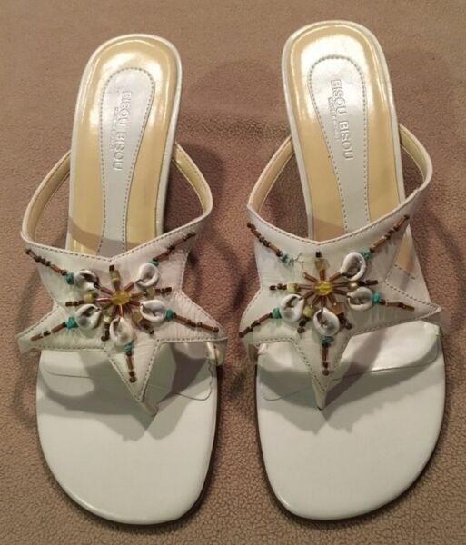 62d0ccdff748 ... White   Gold  Cage-style  Strappy heels by Scene 8.5 FREE SHIP.  42.00   70.00. Bisou Bisou Brittany Leather Sandal Slide Pumps Genuine Shell  Detail 8.5M