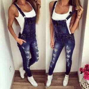 Women-039-s-Bib-Pants-Suspender-Trousers-Straps-Jumpsuit-Denim-Overalls-Jeans