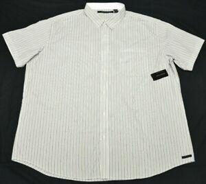 Sean John Button Down Shirt Men/'s Pinstripe Pocket Woven White Black Urban P669
