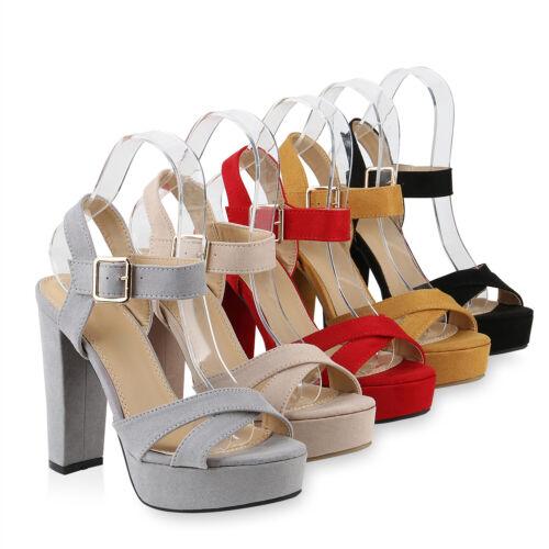 Damen Plateau Sandaletten Party High Heels Sommer Absatzschuhe 831428 Schuhe