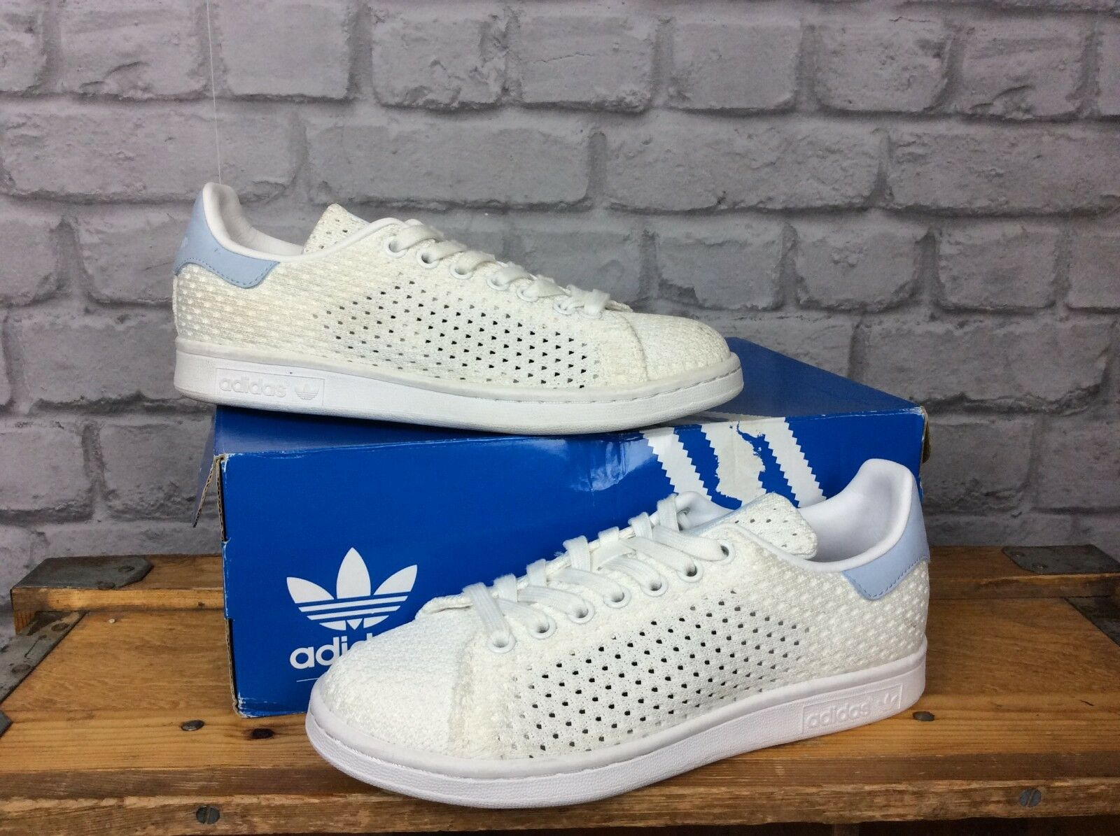 ADIDAS ORIGINALS LADIES UK 5 EU 38 WHITE BABY blueE STAN SMITH KNIT MESH TRAINERS
