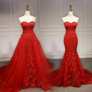 Mermaid-Strapless-Detachable-Train-Applique-Formal-Dress-Evening-Gown-Party-Prom