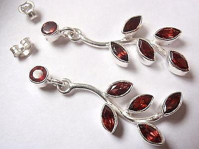 Faceted 12-Gem Garnet Stud Earrings 925 Sterling Silver Dangle Flower Style New
