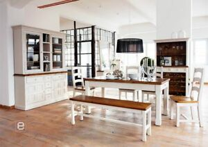 Das Bild Wird Geladen Landhaus Esszimmer Komplett 11 Tlg Weiss Massiv Holz