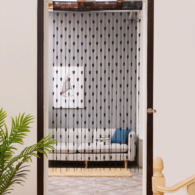 String Curtain Drapes Love Heart Window Door Divider Sheer Curtain