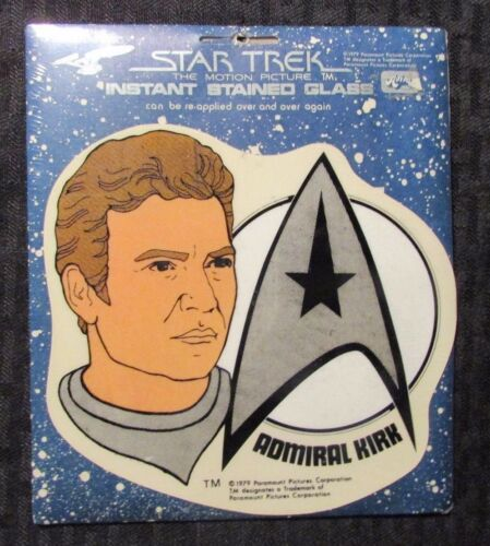 "1979 STAR TREK Instant Stained Glass ADMIRAL KIRK 6x7"" SEALED NM"
