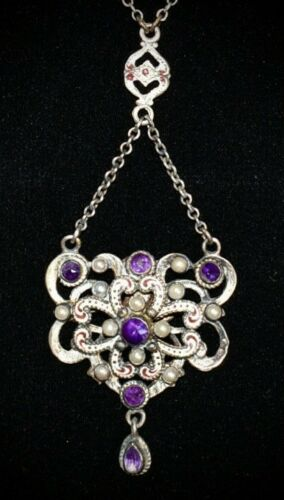 GORGEOUS Antique STERLING Austro Hungarian *AMETHY