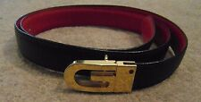 Vintage Gucci women's reversible leather belt navy blue red VGC 34 inches