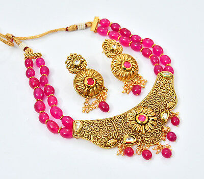 Indian ethnic Gold Fashion Bollywood Jewelry plated Necklace traditional set