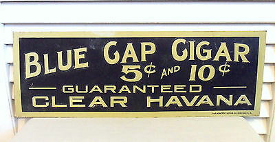 Old Cigar Sign 1910s Vintage Blue Cap 5 Cent Havana Cuban Cigar Embossed Tin
