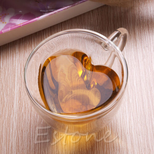 1x 240ml Love Heart Shaped Double Wall Clear Glass Tea Cup Coffee Cups Mug Gift