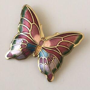 Vintage-cloisonne-Butterfly-Brooch-enamel-on-Metal