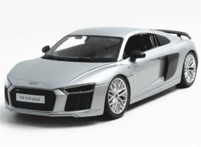 Maisto 1:18 Audi R8 V10 Silver Diecast Model Racing Car Vehicle Toy NEW IN BOX